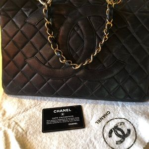 Rare Chanel GST in black with large logo